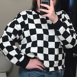 forever 21 checker cropped sweatshirt